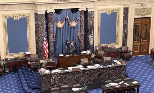 Demonstraten im Senats-Saal